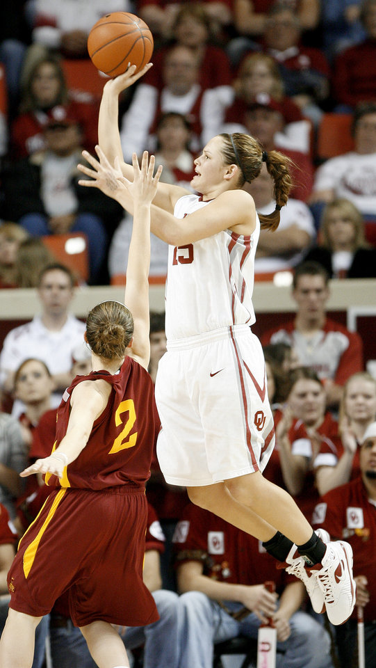 Oklahoma's Whitney Hand shoots the ball over Iowa State's Whitney Williams during a 2009 game vs. Iowa State. PHOTO BY BRYAN TERRY, The Oklahoman Archives