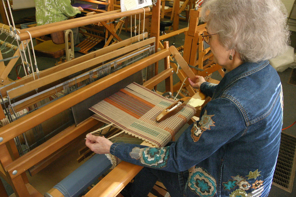 Weaving Instructor Wanda Nobbe weaving placemats. Community Photo By: Bob Bozarth Submitted By: Sue, Guthrie