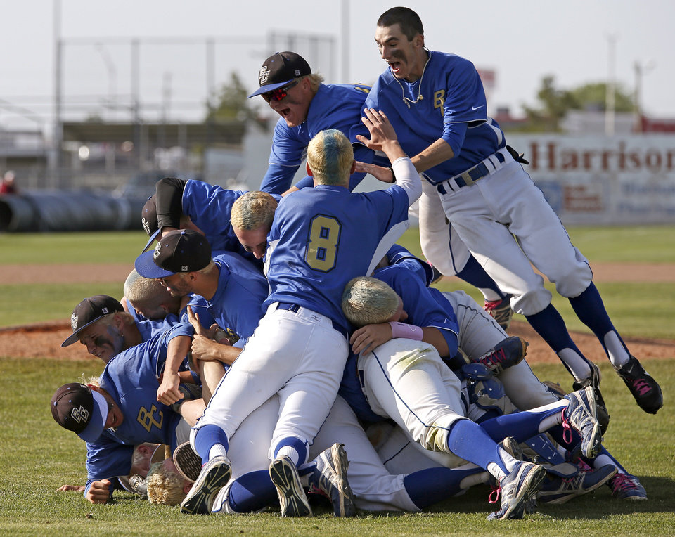 The Berryhill team celebrates their win their win over Plainview in the Class 4A state baseball tournament championship game in Shawnee, Okla., Saturday, May 11, 2013. Photo by Bryan Terry, The Oklahoman