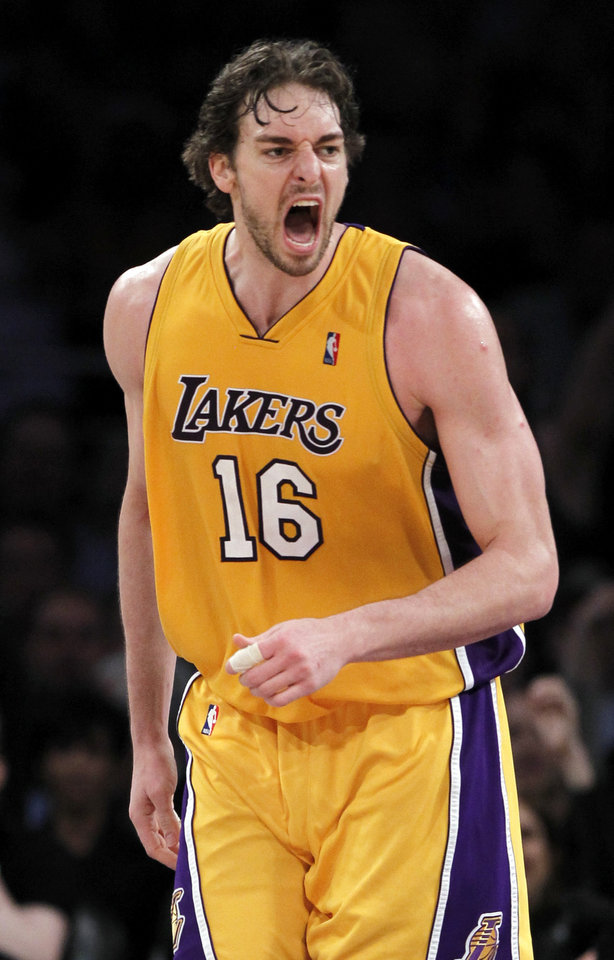 L.A. LAKERS / NBA PLAYOFFS / CELEBRATION: Los Angeles Lakers forward Pau Gasol clebrates a basket against the Oklahoma City Thunder during the second half of Game 5 of a first-round NBA basketball playoff series, in Los Angeles, Tuesday, April 27, 2010. The Lakers won 111-87. (AP Photo/Chris Carlson) ORG XMIT: LAS106
