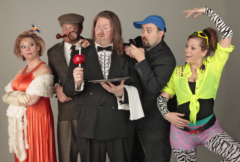 "Heading the cast of the Whodunit Dining Room production of ""Manor of Death"" are, from left, Jean-Marie Otto (as Sybil Scribbles), Matthew Mattocks (Sherlock Spade), Ross Riley (Edsel), Brett Bower (Dustin Moldwood) and Jessica Dixon (Zumba).    Photo By David McDaniel/The Oklahoman <strong>David McDaniel - The Oklahoman</strong>"