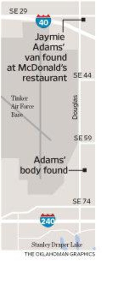 Photo - HOMICIDE / MURDER / DEATH: Jaymie Adams' van found at McDonald's restaurant  / Adams' body found MAP / GRAPHIC