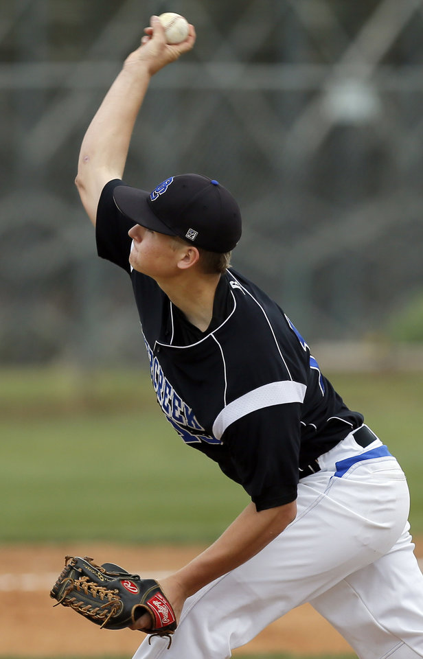 Deer Creek's Michael Brinska (13)  pitches during a Class 5A high school baseball game between Deer Creek and Noble in the state tournament at Edmond Santa Fe in Edmond, Okla.,  Thursday, May 9, 2013. Photo by Nate Billings, The Oklahoman