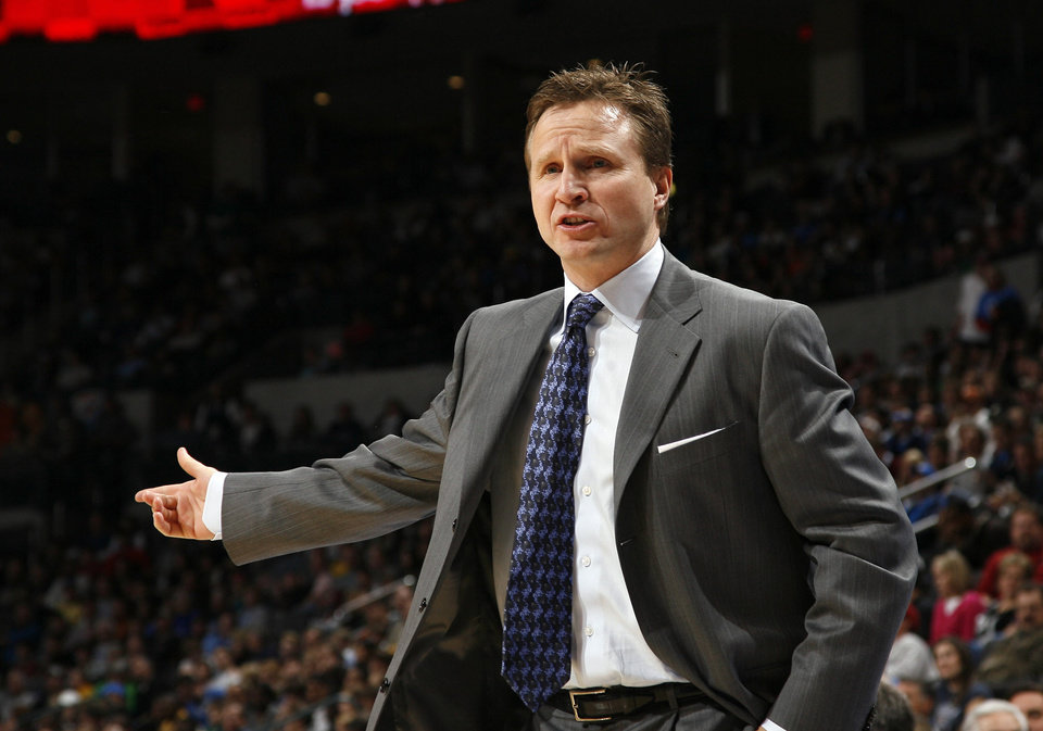 Photo - Oklahoma City head coach Scott Brooks argues a call during the NBA game between the Oklahoma City Thunder and the Cleveland Cavaliers, Sunday, Dec. 13, 2009, at the Ford Center in Oklahoma City. Photo by Sarah Phipps, The Oklahoman