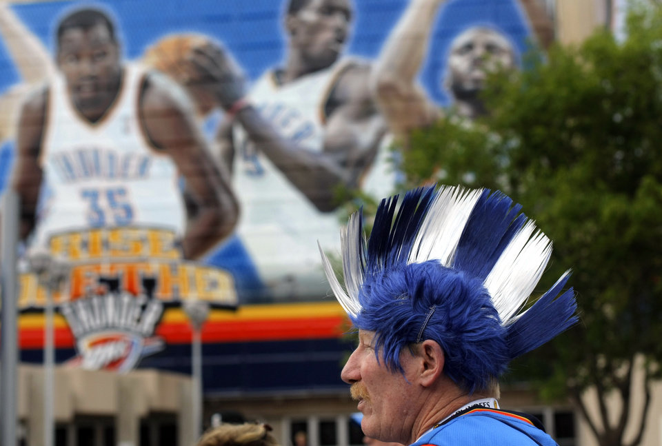 Photo - Michael Musshafen of Midwest City waits for the beginning the first round NBA basketball playoff game between the Oklahoma City Thunder and the Denver Nuggets on Wednesday, April 20, 2011, at the Oklahoma City Arena. Photo by Sarah Phipps, The Oklahoman