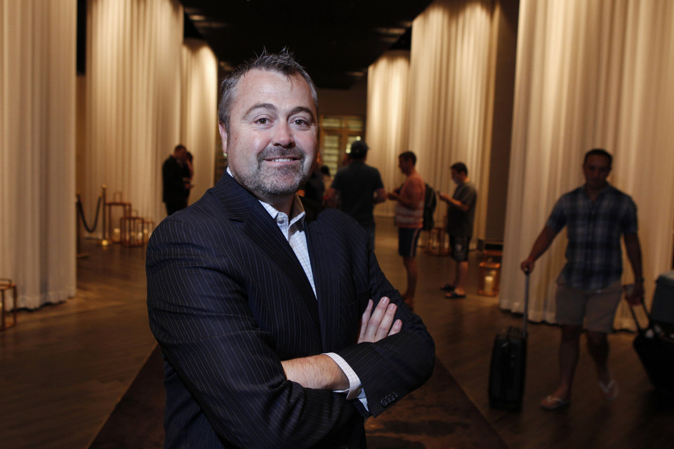 Photo - Matthew Chilton, general manager at Delano Las Vegas hotel, poses for a portrait at the hotel lobby at Delano Las Vegas Friday, Aug. 29, 2014. The hotel scheduled its official reopening for Tuesday, Sept. 2 . after an $80 million renovation of the rooms and lobby. (AP Photo/Las Vegas Review-Journal, Erik Verduzco) LOCAL TELEVISION OUT; LOCAL INTERNET OUT; LAS VEGAS SUN OUT