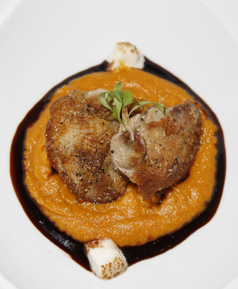 This roasted quail appetizer celebrates the flavors of Thanksgiving with sweet potatoes and marshmallow. Photo by Steve Gooch, The Oklahoman <strong>Steve Gooch - The Oklahoman</strong>
