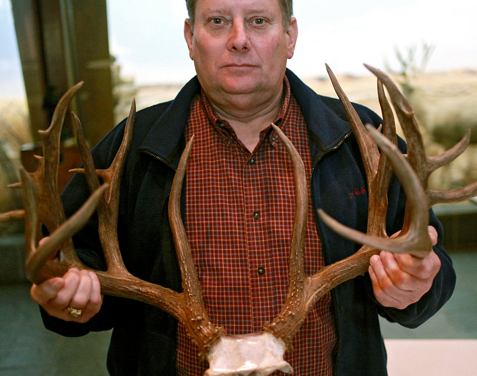 Robert Fleenor, chief law enforcement at the Oklahoma Department of Wildlife Conservation, poses with antlers from the 'BP Buck' at the Department of Wildlife Conservation offices in Oklahoma City on Wednesday, March 30, 2011. The BP Buck was killed by a Bokoshe man who pleaded guilty last week and had his hunting license revoked for 20 years. State wildlife officials plan to use the rack in an educational display. Photo by John Clanton, The Oklahoman