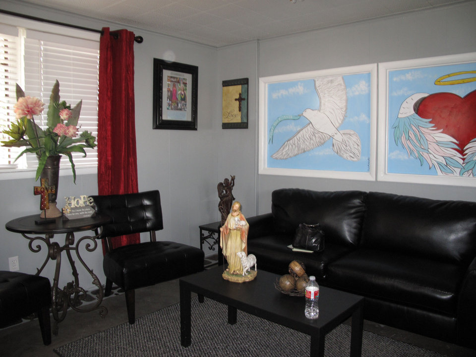 The newly refurbished prayer room in the Jesus House warehouse includes several window murals and other art, new furnishings, curtains, an engraved Bible and other decor. <strong>CARLA HINTON - CARLA HINTON</strong>