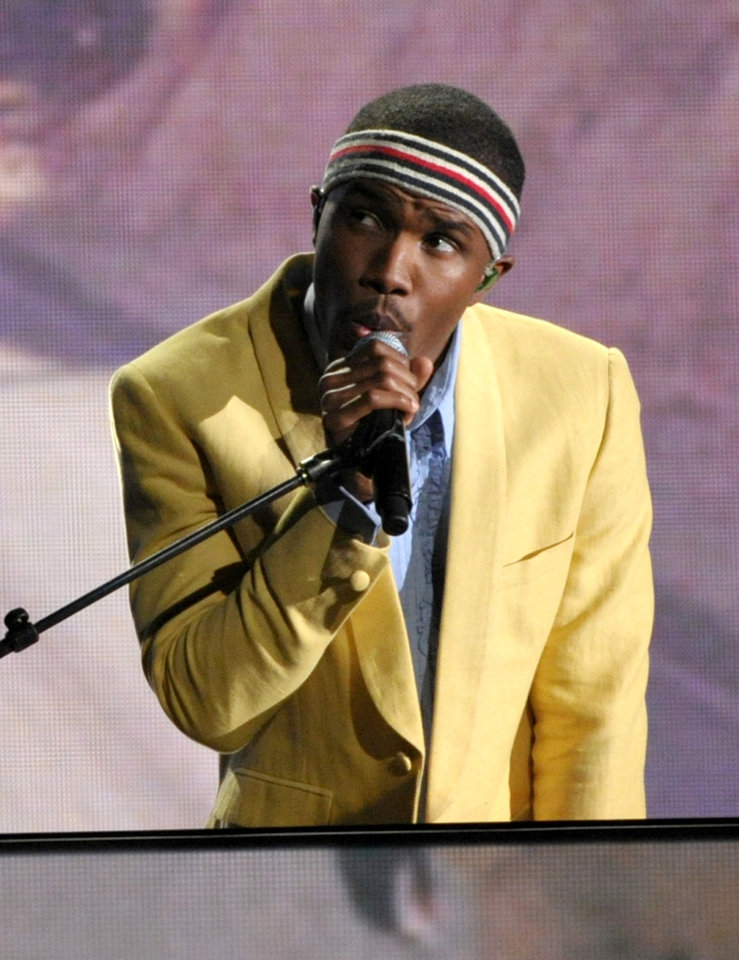 FILE - This Feb. 10, 2013 file photo shows Frank Ocean performing at the 55th annual Grammy Awards in Los Angeles. The New Orleans Jazz and Heritage festival begins Friday, April 25. This year\'s headliners are big, including Billy Joel, Fleetwood Mac, Hall and Oates, The Black Keys, Maroon 5, Jill Scott, Kem, Frank Ocean and the Dave Matthews Band. (Photo by John Shearer/Invision/AP, file)