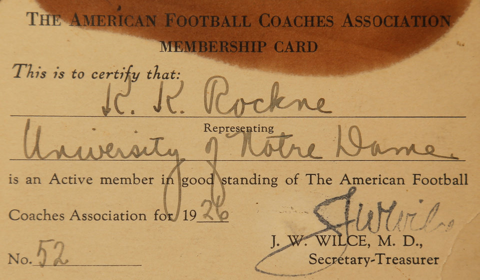Photo - A membership card in the American Football Coaches Association for legendary Notre Dame football coach Knute Rockne, part of a collection of memorabilia owned by Chris Knute Kochendorfer, great grandson of Rockne, in Oklahoma City, Wednesday, Oct. 24, 2012. Photo by Nate Billings, The Oklahoman