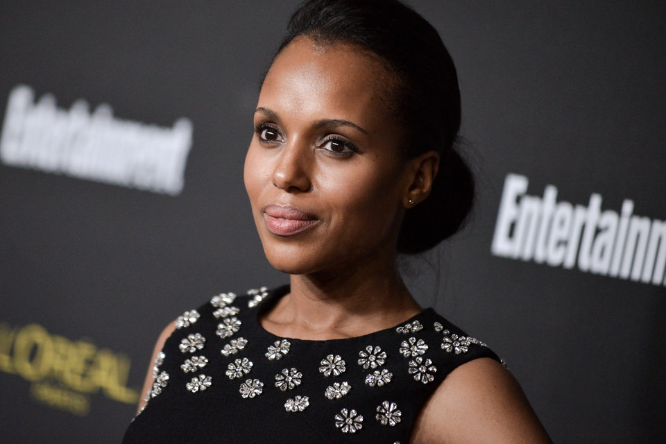 Kerry Washington arrives at the 2014 Entertainment Weekly Pre-Emmy Party on Saturday, Aug. 23, 2014, in West Hollywood, Calif. (Photo by Richard Shotwell/Invision/AP)