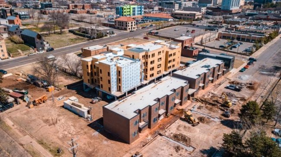 Photo -  The Bower is adding some infill to a long vacant block in Midtown, as shown looking northeast from NW 4 and Lee Avenue. [Dave Morris, The Oklahoman]