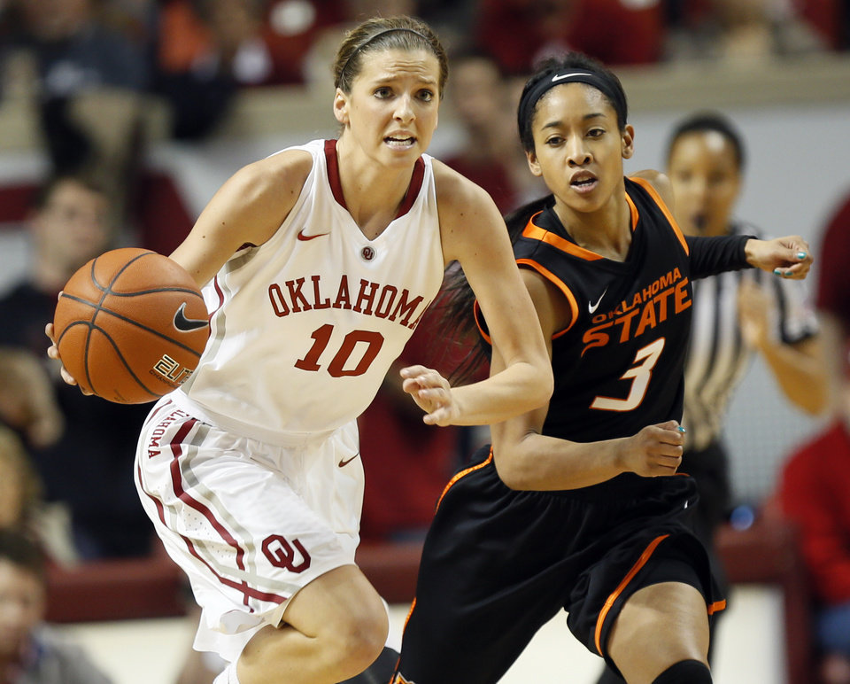 Oklahoma's Morgan Hook (10) leads a fast break in front of Oklahoma State's Tiffany Bias (3) in the second half during a women's Bedlam college basketball game between the Oklahoma State University Cowgirls (OSU) and the University of Oklahoma Sooners (OU) at Lloyd Noble Center in Norman, Okla., Saturday, Feb. 1, 2014. OU won, 81-74. Photo by Nate Billings, The Oklahoman