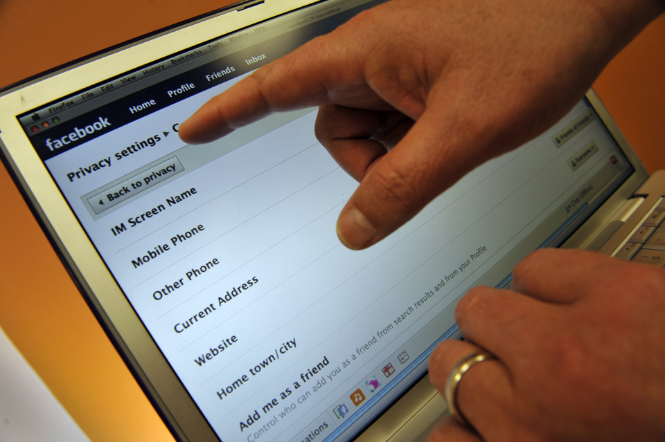 Facebook privacy settings are shown. (AP Photo/Russel A. Daniels)