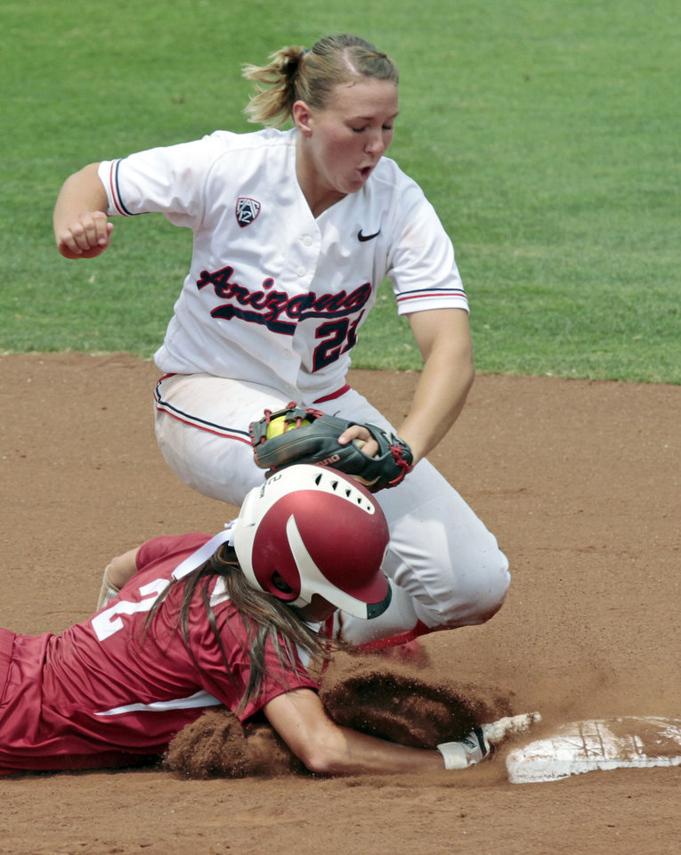 Photo - Oklahoma's Brianna Turang is called out running back to second on a tag by Shelby Pendley as the University of Oklahoma Sooner Softball team plays Arizona in game two of the NCAA Softball Norman Super Regional at Marita Hines field on Saturday, May 26, 2012, in Norman, Okla.  Head coach Patty Gasso approached the umpire and argued for a safe runner.  Photo by Steve Sisney, The Oklahoman