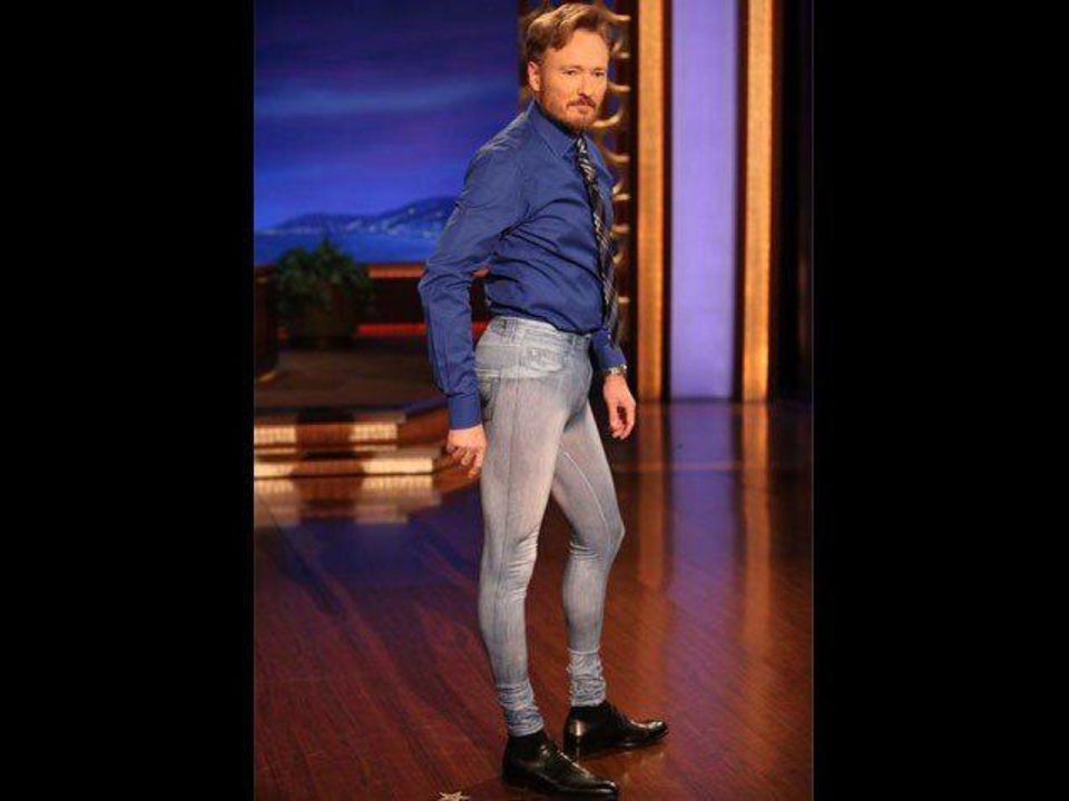 Conan O\'Brien models a pair of men\'s jeggings on his talk show in 2010. Photo is a screen shot from video.