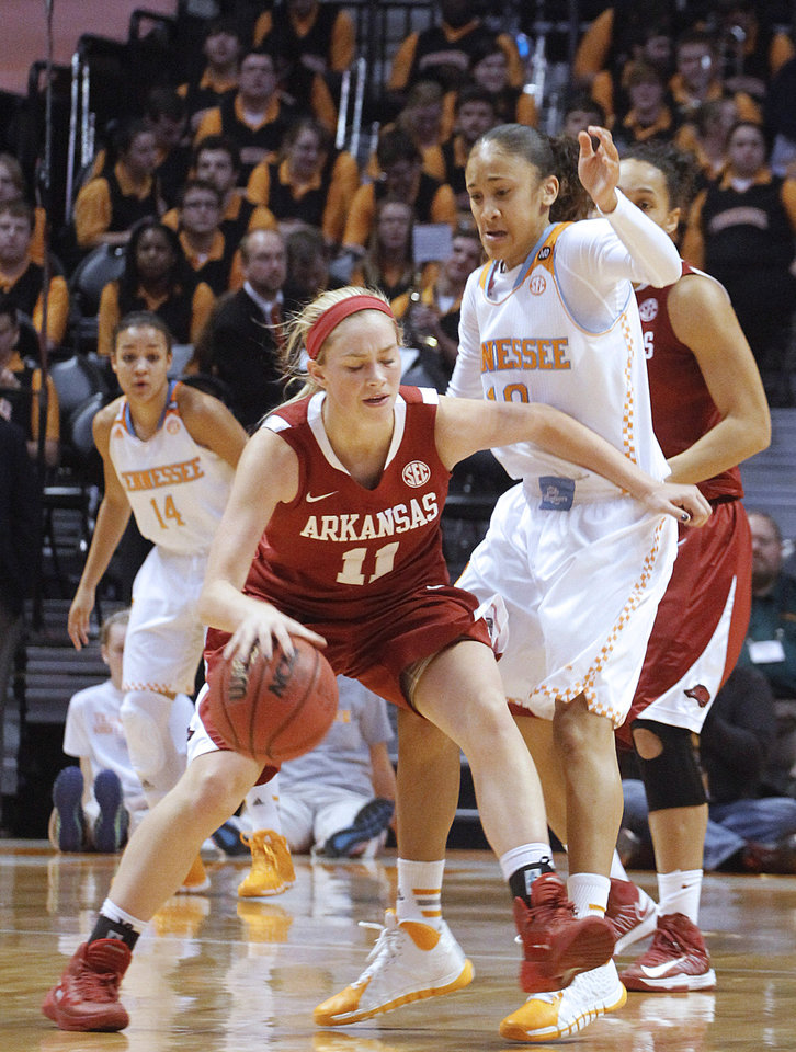 Photo - Arkansas' Calli Berna, left, drives the ball to the basket against Tennessee's Meighan Simmons, right, in the first half of an NCAA college basketball game, Thursday, Jan. 30, 2014, in Knoxville, Tenn. (AP Photo/Lisa Norman-Hudson)