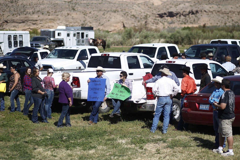 Photo - Supporters prepare to rally for Cliven Bundy at the Bundy ranch near Bunkerville Nev. Monday, April 7, 2014. The Bureau of Land Management has begun to round up what they call