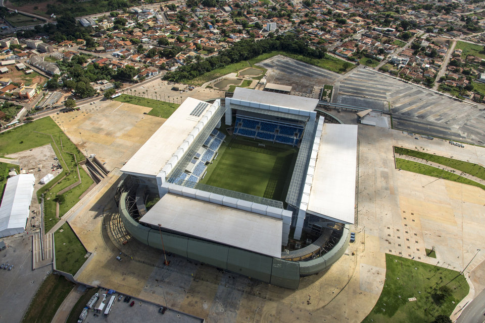 Photo - This April 24 , 2014 photo released by Portal da Copa, shows an aerial view of the Arena Pantanal in Cuiaba, Brazil. Brazil had seven years to get ready for the World Cup, but it enters the final month of preparations with a lot yet to be done. There is also concern with the temporary structures at the Beira-Rio Stadium in southern Porto Alegre, and the other incomplete venue is the Arena Pantanal in the western city of Cuiaba, which is only expected to host an official test event at the end of the month. (AP Photo/Portal da Copa, Jose Medeiros)