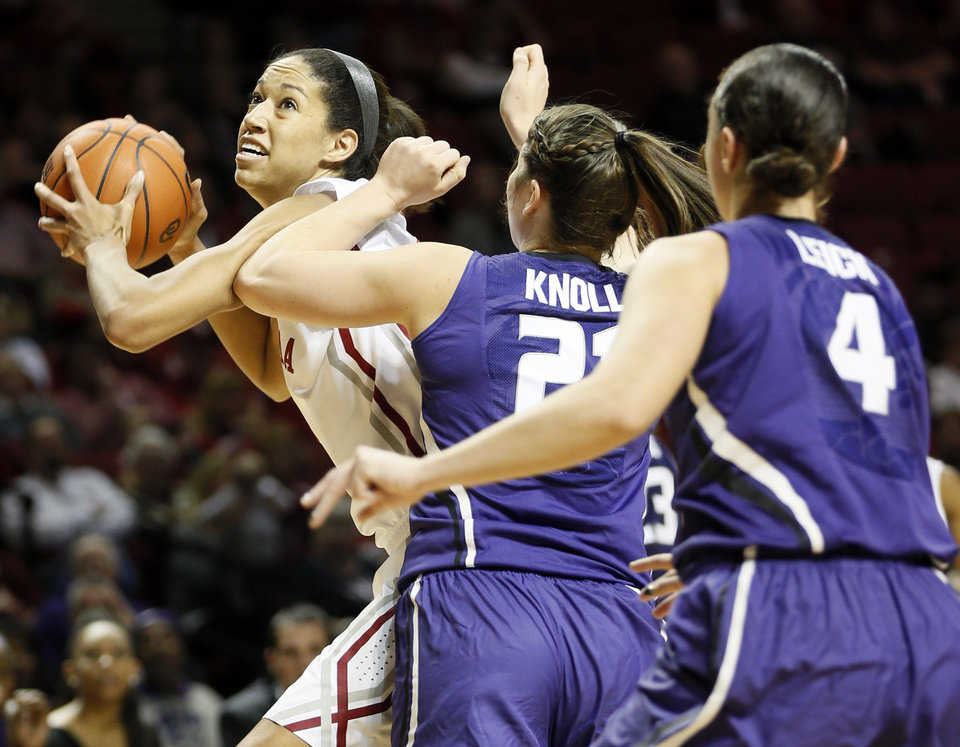 Oklahoma's Nicole Griffin (4) tries to shoots past Kansas State's Ashlynn Knoll (21) and Katya Leick (4) in the first half during an NCAA women's basketball game between the Oklahoma Sooners (OU) and the Kansas State Wildcats at Lloyd Noble Center in Norman, Okla., Saturday, Jan. 11, 2014. Photo by Nate Billings, The Oklahoman