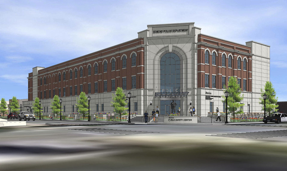 Edmond's new public safety center  will be built on the southeast corner of First Street and LIttler Avenue. ARCHITECT DRAWING PROVIDED. FRANKFURT SHORT BRUZA. <strong>PROVIDED</strong>