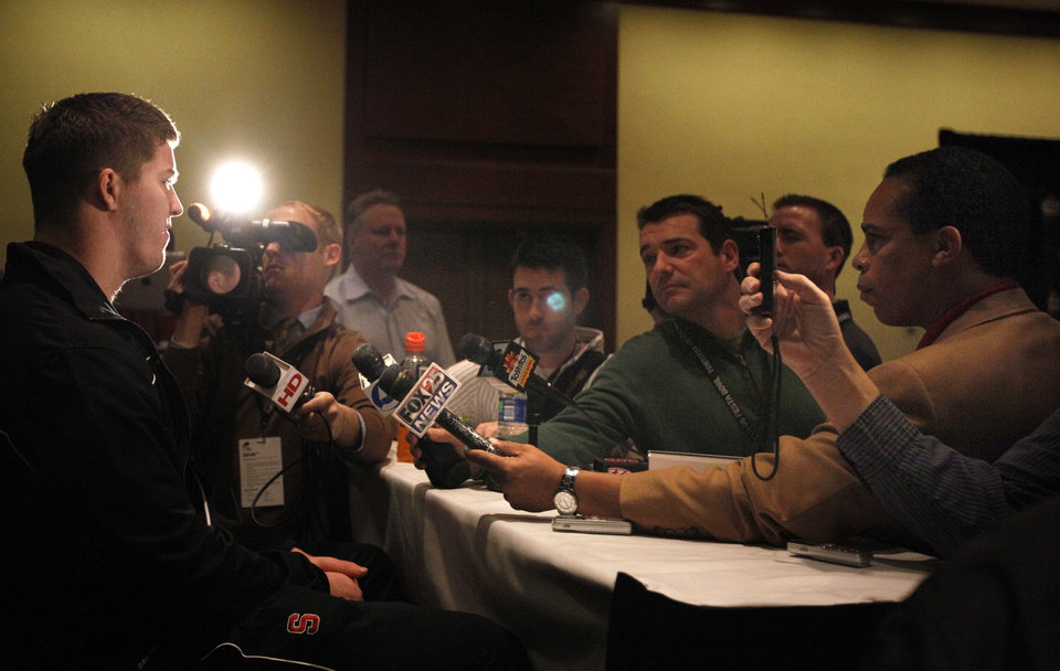 Photo - Chase Thomas talks to the media during a Stanford media day for the Insight Bowl at the Camelback Inn in Paradise Valley, Ariz.,  Thursday, Dec. 29, 2011. Photo by Sarah Phipps, The Oklahoman