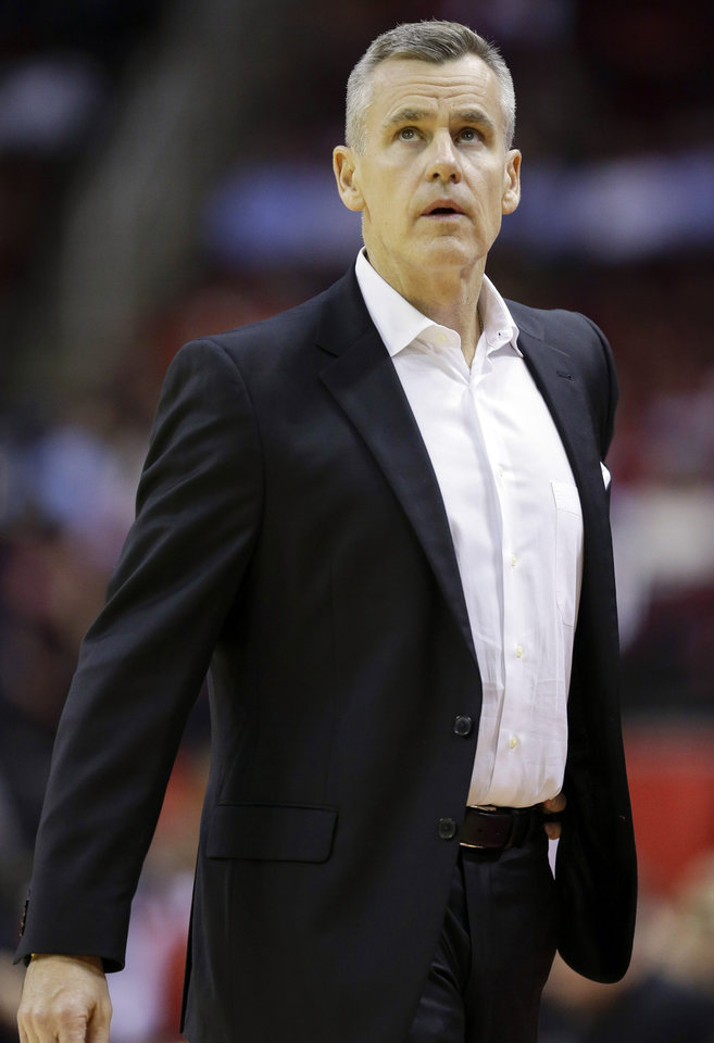 Photo - Oklahoma City Thunder head coach Billy Donovan watches from the sideline during the first half of an NBA basketball game against the Houston Rockets, Monday, Oct. 28, 2019, in Houston. (AP Photo/Eric Christian Smith)
