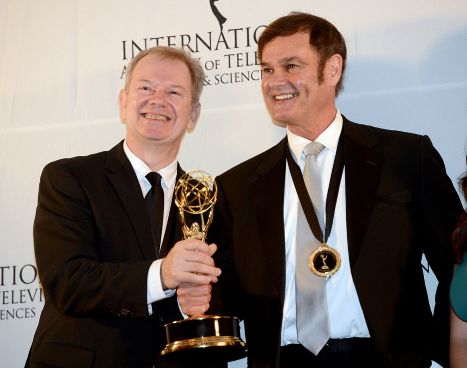 Photo -   Australians Zane Bair, left, and Michael McKay after winning the Non-Scripted Entertainment award for