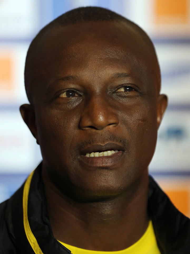 Photo - Ghana's head coach Kwesi Appiah speaks during a press conference in Nelspruit, South Africa, Tuesday Feb. 5, 2013, ahead of their African Cup of Nations semifinal soccer match against Burkina Faso on Wednesday. (AP Photo/Themba Hadebe)