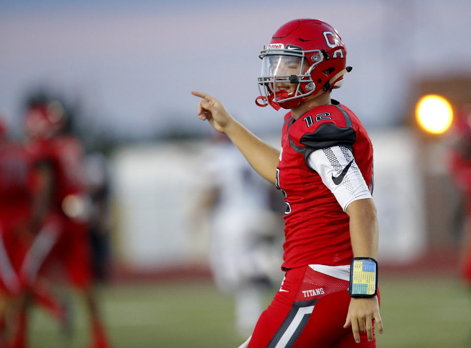 Photo - Carl Albert's Ben Harris celebrates a play during the high school football game between Carl Albert and Del City at Carl Albert High School in Midwest City, Okla., Friday, Sept. 13, 2019. [Sarah Phipps/The Oklahoman]