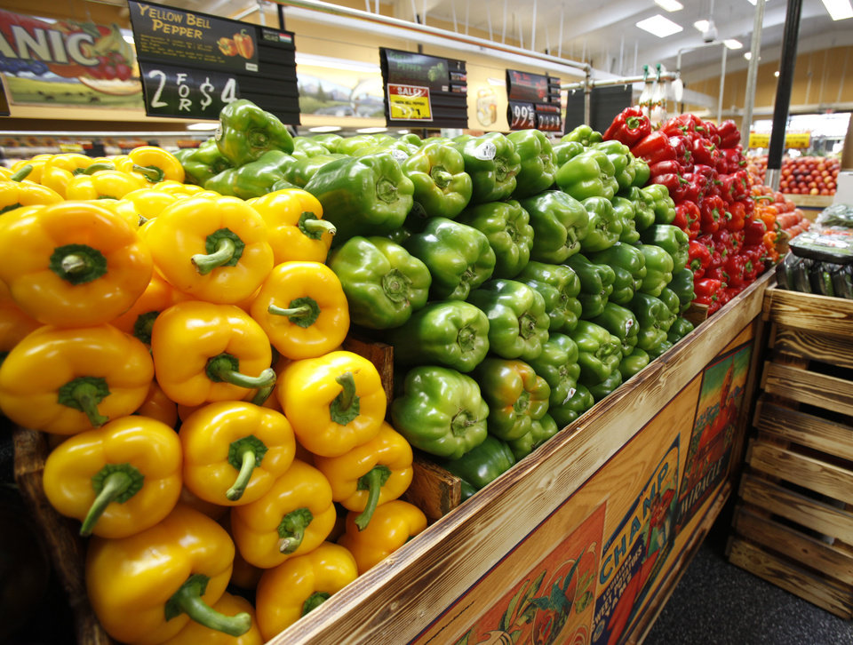Bell peppers are neatly stacked at the new Sunflower Farmers Market grocery store in Oklahoma City, OK, Tuesday, Aug. 30, 2011. By Paul Hellstern, The Oklahoman