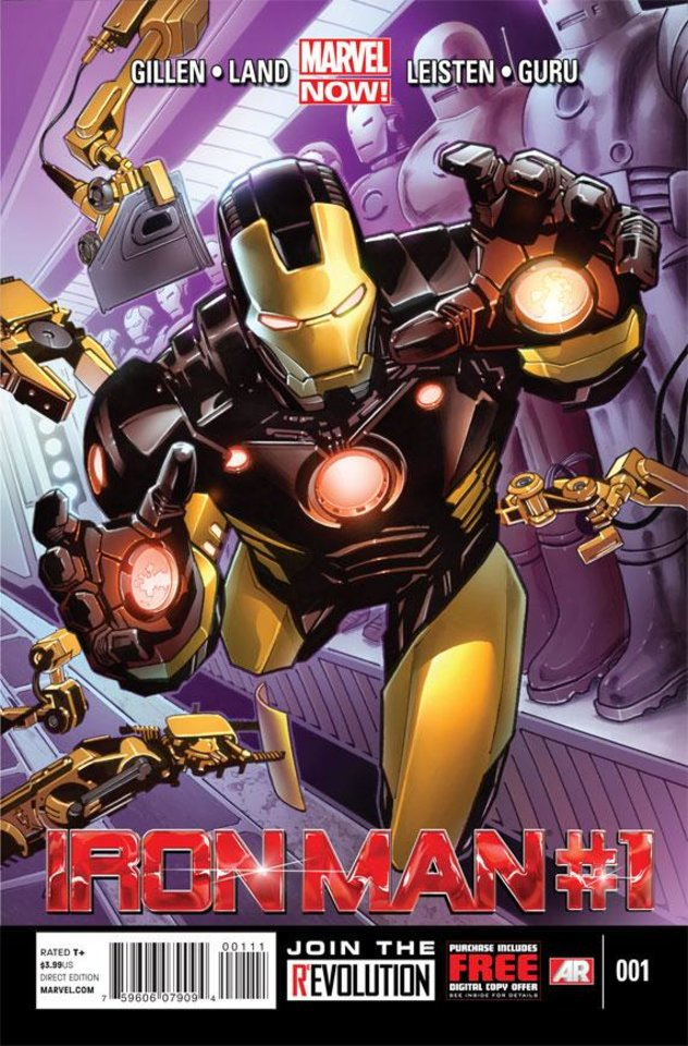 "This comic image released by Marvel Entertainment shows the cover of the upcoming ""Iron Man,"" part of Marvel Comics' new initiative aimed at recharging the publisher's heroes and villains. (AP Photo/Marvel Entertainment)"