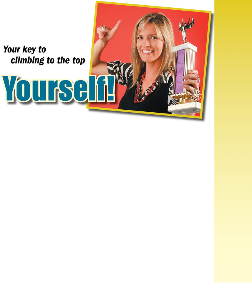 Photo - Graphic with photo: Promote Yourself! (woman holding trophy) - Photo: Model Jaimie Boden with trophy for You! self promotion cover. Photographed in the OPUBCO studio, Tuesday July 8, 2008. BY NATE BILLINGS, THE OKLAHOMAN ORG XMIT: KOD