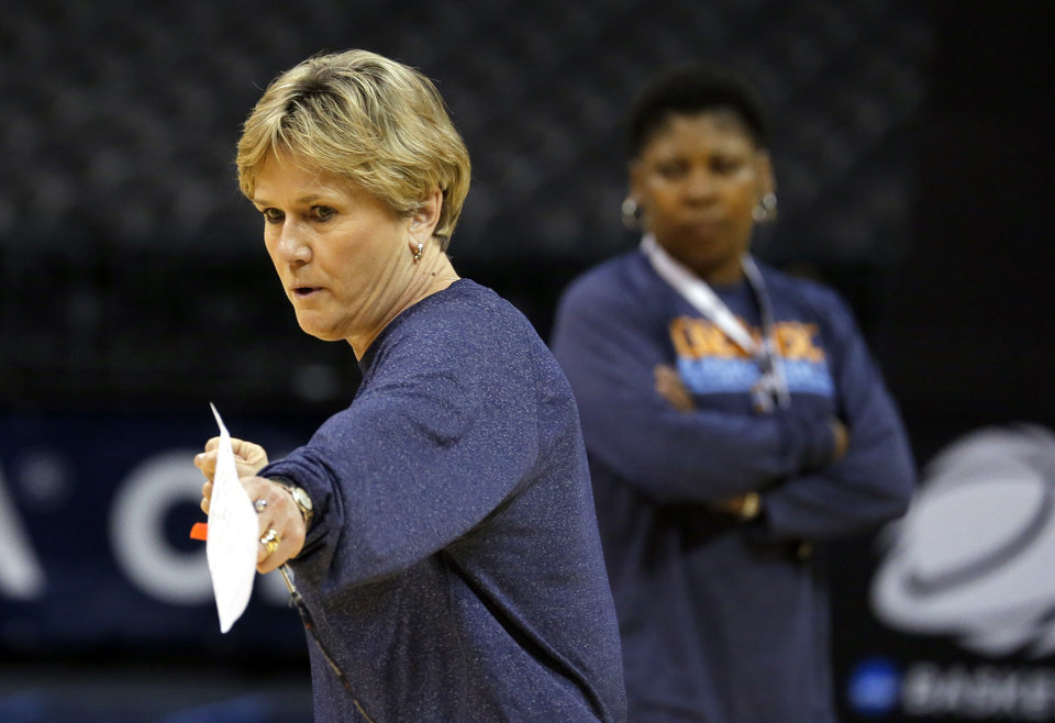Tennessee head coach Holly Warlick  coaches during the press conference and practice day at the Oklahoma City Regional for the NCAA women's college basketball tournament at Chesapeake Arena in Oklahoma City, Friday, March 29, 2013. Photo by Sarah Phipps, The Oklahoman