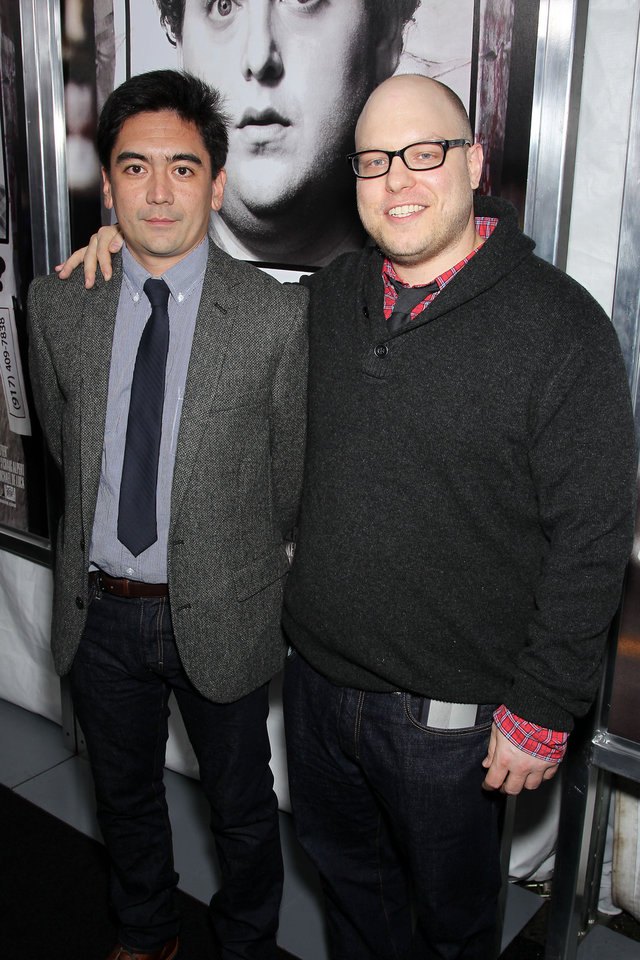 "Screenwriters Alessandro Tanaka, left, and Brian Gatewood pose at the premiere of their film, ""The Sitter,"" Tuesday, Dec. 6, 2011, at the Chelsea Clearview Cinemas in New York. (AP Photo/Starpix, Marion Curtis) ORG XMIT: NYET943"