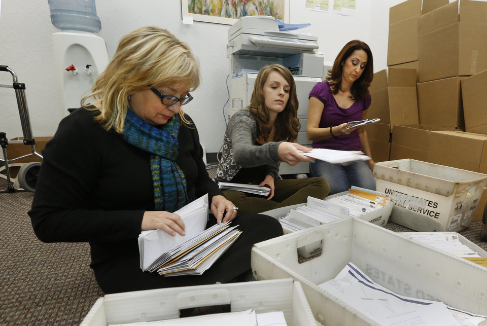 Photo - FILE - In this Thursday, Nov. 7, 2013 file photo, Karen England, executive director of the California Resource Institute, left, and volunteers Grace LeFever, center, and Christina Hill, sort through stacks of mail with petitions for a referendum to overturn a new California law that allows transgender students to chose which public school restrooms they use, in Sacramento, Calif. Opponents of the law are working to collect the 504,760 signatures needed to place the referendum on the November 2014 ballot. If approved by voters, the referendum would overturn the law, approved by state lawmakers, that allows transgender students the choice of which restrooms they could use, but also whether to play boys or girls sports. (AP Photo/Rich Pedroncelli, File)