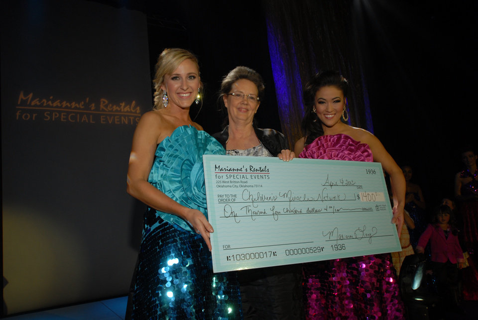 Photo -  Miss Oklahoma 2009 Taylor Treat Burget holds a donation check at last year's Linen Fashion Show with Marianne Long, owner of Marianne's Rentals, and Miss Oklahoma 2012 Alicia Clifton. Photo provided