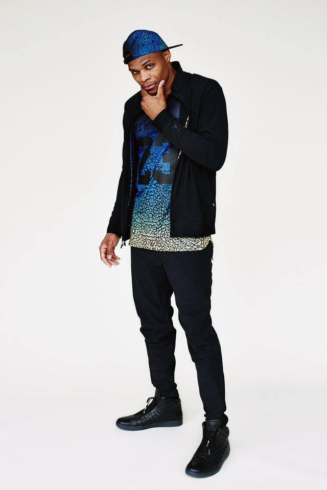Photo - In this product image released by Barneys New York, Oklahoma City Thunder point guard Russell Westbrook wears items from his clothing line called Westbrook–XO-Barneys New York. The items are available at Barneys New York on Thursday, July 17. (AP Photo/Barneys New York)