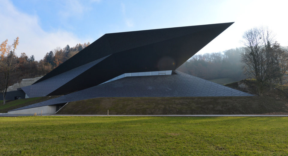 Photo -   Outside view of the new concert house in Erl , Austria, photographed Tuesday Nov. 20, 2012. Officials in the Tyrolean town of Erl have officially inaugurated the futuristic concert house that will house Austria's newest music festival, adding to the county's rich palette of classical music events. Erl already has a summer music festival, along with bigger events in Salzburg, Bregenz, and elsewhere. But the new building will also be home to a winter festival that takes place for the first time from Dec. 26 through Jan. 6. Festival director Gustav Kuhn told the Austria Press Agency Tuesday that he expects the winter fest to be 90-percent sold out. (AP Photo/dapd/ Kerstin Joensson)
