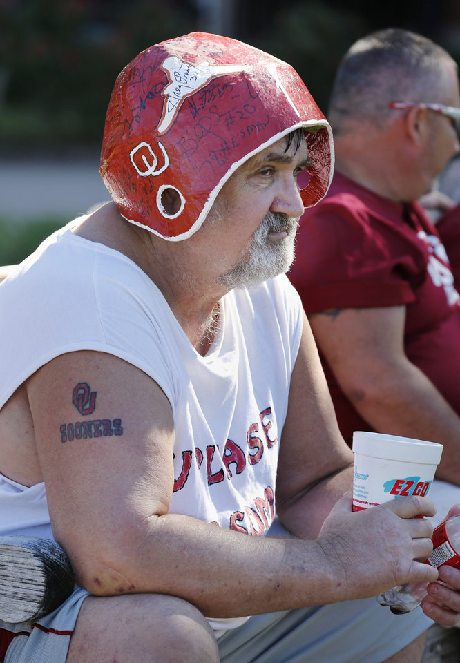 Ron Wallace, McAlester, sports a homemade autograph helmet as he waits outside the stadium for the college football game between the University of Oklahoma Sooners (OU) and Florida A&M Rattlers at Gaylord Family—Oklahoma Memorial Stadium in Norman, Okla., Saturday, Sept. 8, 2012. Photo by Steve Sisney, The Oklahoman