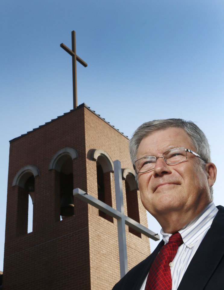 Photo -  The Rev. Dennis Clark, retiring pastor of the First Christian Church of Guthrie. Photo by Doug Hoke, The Oklahoman   DOUG HOKE -  THE OKLAHOMAN