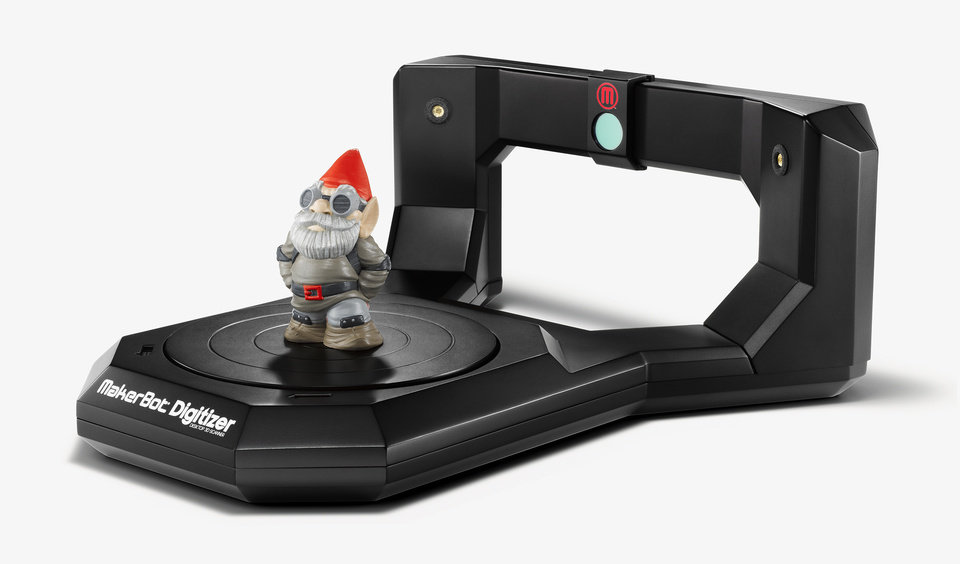 Photo - This product image released by MakerBot shows the MakerBot Digitizer 3D desktop scanner that went on sale earlier this year. 3D scanning and printing technology were among topics discussed at the Game Developers Conference Next at the Los Angeles Convention Center on Nov. 5-7, 2013. (AP Photo/MakerBot/Spencer Higgins)