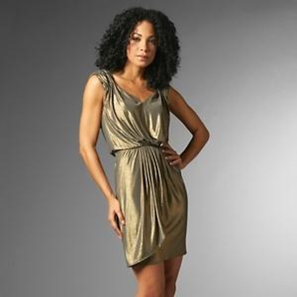 Queen Collection by Queen Latifah draped dress, available on HSN for $109.90.