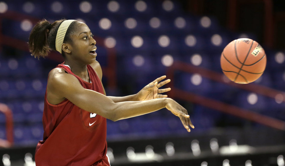 Stanford\'s Chiney Ogwumike passes during practice for a regional semifinal game in the women\'s NCAA college basketball tournament Friday, March 29, 2013, in Spokane, Wash. Stanford plays Georgia on Saturday. (AP Photo/Elaine Thompson)