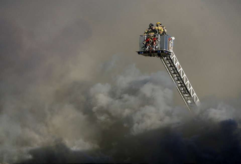 Firefighters battle a fire at a church in Edmond, Okla., Thursday, Feb. 7, 2008.  BY BRYAN TERRY, THE OKLAHOMAN