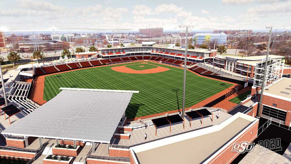 Photo -  A rendering of Oklahoma State's new baseball facility was released Thursday. Preliminary work has already started on the site located at the corner of Washington Street and McElroy Road. The stadium is set to open in 2020. [ILLUSTRATION COURTESY OF OSU ATHLETICS]