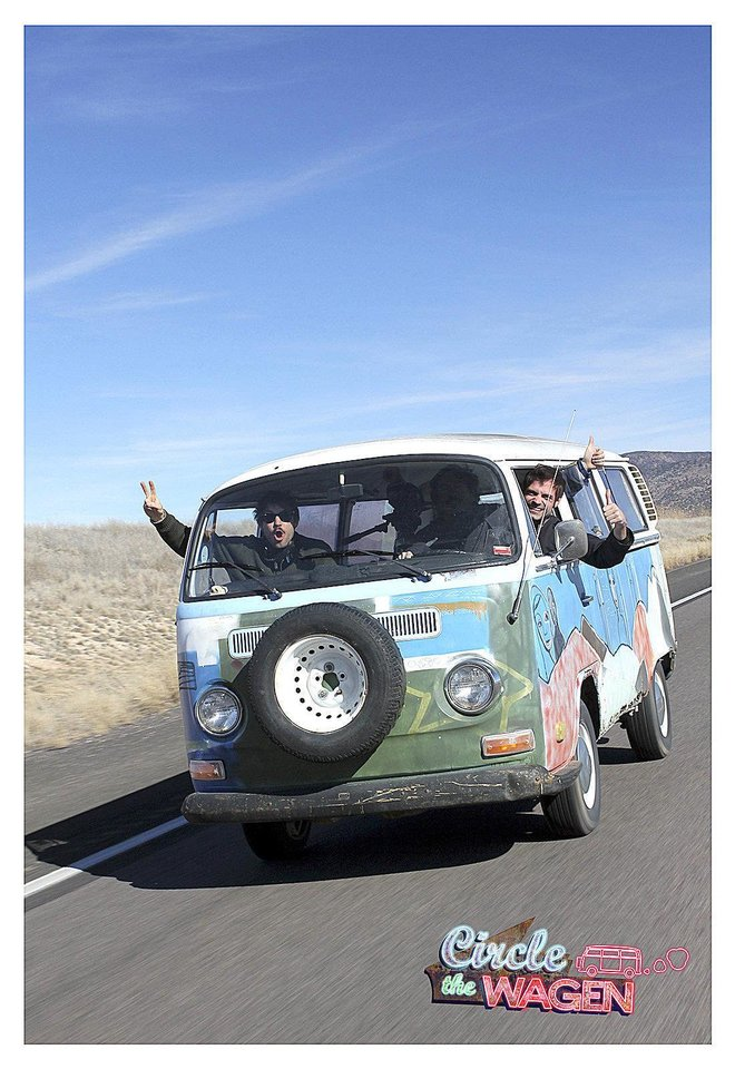 "Here is the ""The Croc"" as it looks today. Ryan Green, director of ""Circle the Wagen,"" is on the left waving a peace sign out the window. In the middle of the van is passenger Charlie Pecoraro, 32,  of Burbank, Calif. The driver is Dave Torstenson, 32, of Los Angeles.  <strong>Leslie Andrew Ridings</strong>"