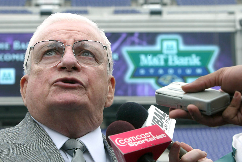 Photo -   FILE - Owner and CEO of the Baltimore Ravens Art Modell talks with reporters at the newly named M&T Bank Stadium in Baltimore, Md. in this May 6, 2003 file photo. The Baltimore Ravens said Modell died early Thursday Sept. 6, 2012 at Johns Hopkins Hospital, where he had been admitted Wednesday. A cause of death was not given. (AP Photo/ Matt Houston, File)