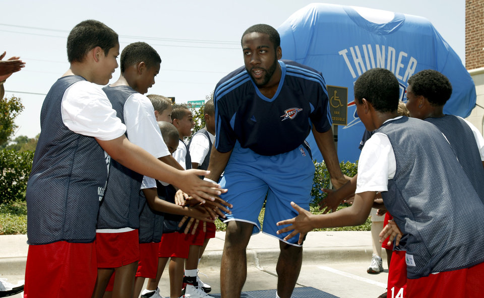 Photo - NBA BASKETBALL TEAM: Oklahoma City Thunder draft pick James Harden is introduced to the fans at the Thunder Caravan at  Midfirst Bank, in Oklahoma City, Saturday, June 27, 2009. Photo by Sarah Phipps, The Oklahoman  ORG XMIT: KOD